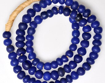 26 Inch Strand of Old Lapis Blue German Padre Beads - Vintage African Trade Beads - PA53
