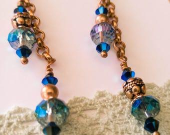 Long blue earrings, golden hooks