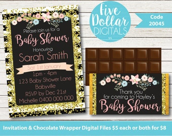 Personalised Black/White/Pink/Gold Glitter Floral Digital Baby Shower Invitation & Chocolate Candy Bar Wrapper