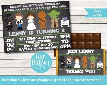 Star Wars Personalised Digital Birthday Invitation & Chocolate Candy Bar Wrapper Printable DIY Code 20070