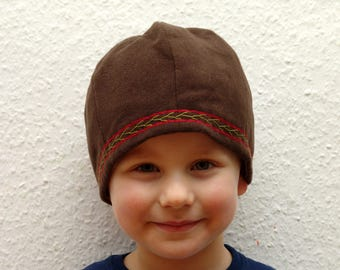 CAP, Viking, RUS, embroidered, herringbone, Gr. 50, wool, linen, children