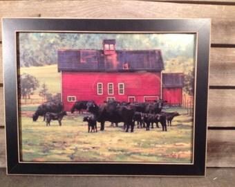 framed Bonnie Mohr Barn and cattle print country primitive farmhouse Decor