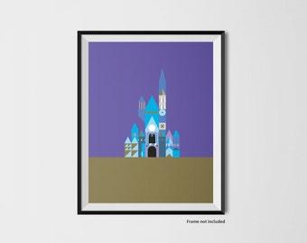 Castle illustration print inspired by Disney World - Purple/Gold