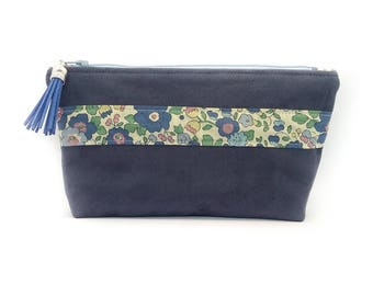Pouch Blue Suede jean and Liberty Betsy blue green