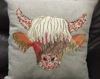 Handmade Highland Cow Cushion | Freehand machine embroidery and applique