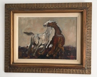 SALE Adolf Adler Judaica Original Paiting Horses