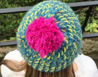 Blueberry, Lime and Raspberry Knitted Hat