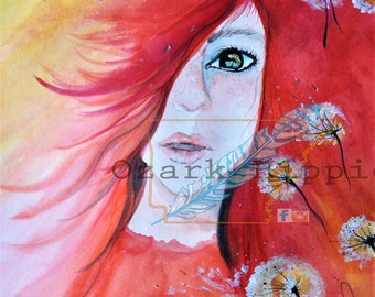 "12x18 Original Watercolor "" Some saw Weeds, She saw Wishes"" Red Hair, Green Eyes."