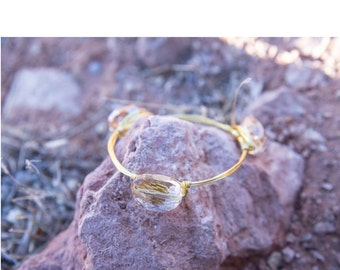 Yellow Heart Gold Bangle
