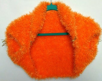 Bolero orange fluffy.Bolero.Knitted poncho.The occasion.Wedding.Mother's Day.One size.