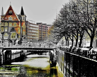 """limited artistic Photography """"parking at the town canal"""" Hamburg by Thomas de Bur Germany 100% cotton canvas gallery photograph certificate"""