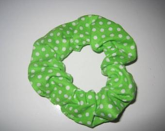 Green / White Polka Dots Scrunchie