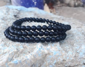 Black Onyx Matte 4mm Bracelet