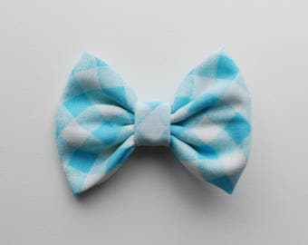 Petite Verdot - Blue and White Gingham Bow