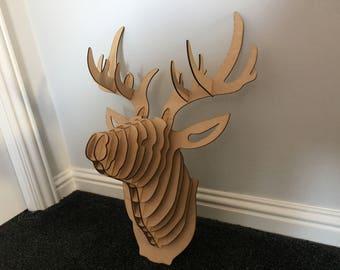 Stag Head - Wall Art - - Laser Cut