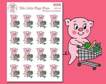 Oinkers Goes to the Market - Grocery Shopping Planner Stickers - Groceries - Food Shopping - Planner Stickers - Food Stickers - [MA 1-01]
