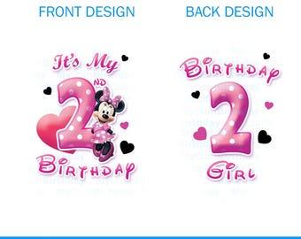 Pink Minnie Mouse Birthday, My 2nd Birthday, Printable, DIY IRON ON. Pink Minnie Birthday Girl