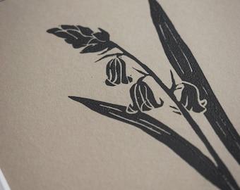 Lino print: Bluebell