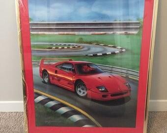 Vintage 80's Ferrari Framed Art Print Limited Edition Signed 16 x 20