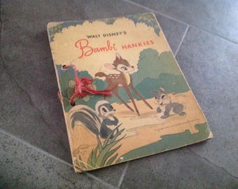 Vintage Bambi Hankie Holder Book Disneyana