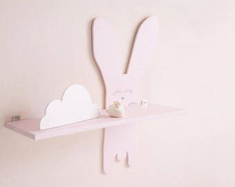 Bunny wooden shelf for baby nursery, kids room, rabbit, animal shelves, decoration for bedroom, wall art, floating shelf