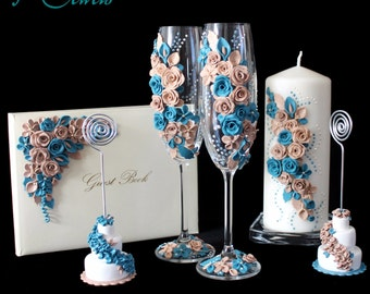 Wedding Set: flutes from champagne, candle, guest books and hand-decorated placeholder