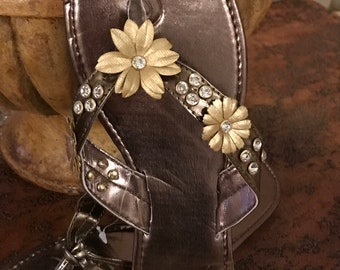 Hand embellished Flip Flops. Medium
