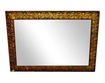 Vintage to Antique Gold Gilt Gesso Floral Filigree Framed Wall Mirror 48 x 34