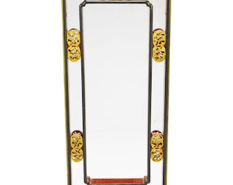 Vintage Chinese Mirror, Black, Red and Gold Colored