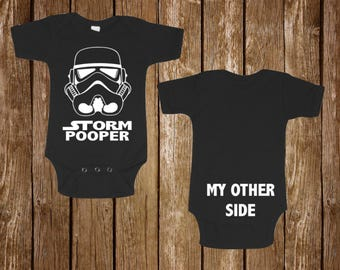 "Star Wars Onesie Baby Black onesie "" Storm Pooper "" funny New Born to 24 month humor tee Bodysuits Baby Shower"