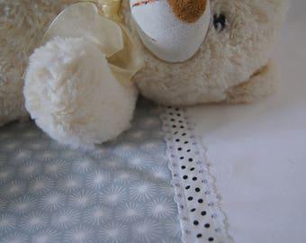 Organic baby bedding crib set - 2 pieces, warm grey & white