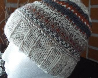 Tweedy Reversible Knitted Hat