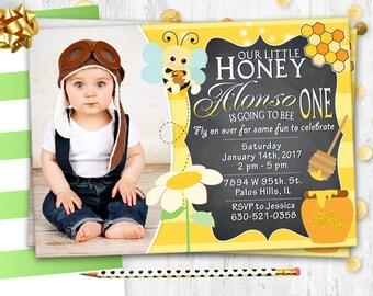 Bee Birthday Invitation Bumble Bee Photo Invitation Photo card Printable