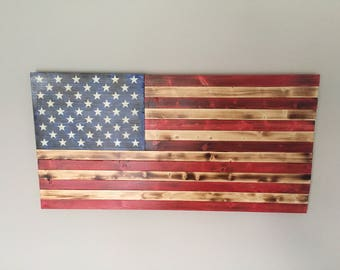 Rustic handmade stained American flag