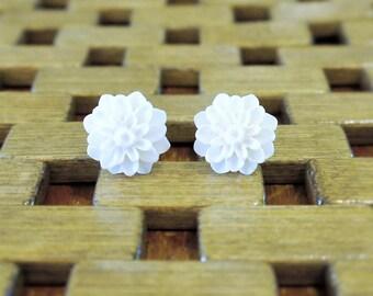 White Dahlia Flower Stud Earrings