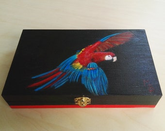 Storage Box Parrot. Hand-painted wooden box. For the nature lover