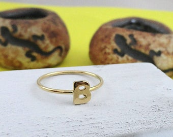 initial ring, b ring, gold ring,