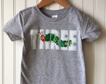 Caterpillar 3rd birthday shirt. Completely customizable. Bug themed birthday. Hungry caterpillar. Very hungry caterpillar party, first
