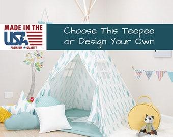 Turquoise Feather Teepee, kids teepee tent, childrens teepee, teepee play tents, teepee bedroom, play teepee, teepee play tent, teepee kids