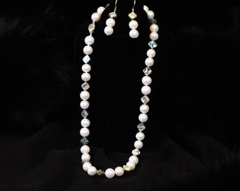 Pearl & Abalone Necklace / Earring Set