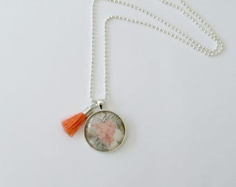 Ladies necklace Hibiscus cabochon pendant with soft tassel. Custom options and handstamping available