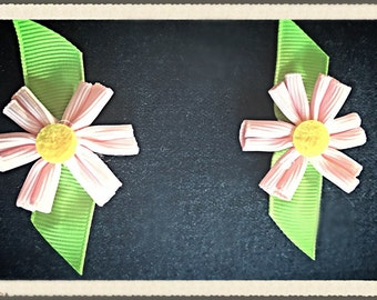 Infant, toddler, baby, girl matching pink flower hair clips.  Great for pigtails!