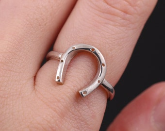 Horseshoe Ring, Sterling Silver Ring, Handcrafted, Horse Jewelry, Silver Ring, Lucky Horseshoe Ring, Minimalist Jewelry, Everyday Ring, gift