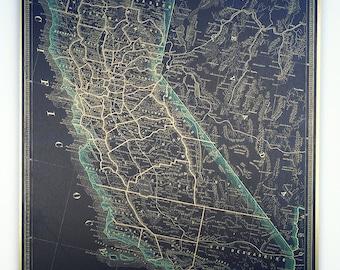 Vintage Map Print on Acrylic, Aluminum or Wood - California
