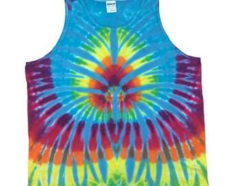 Tie Dye Tank Top - Spider Turquoise