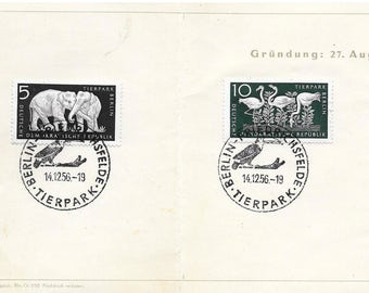 1954 TierPark Berlin Stamp card w 5 stamps