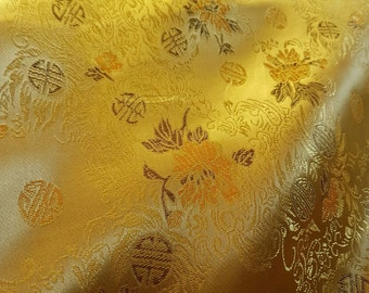 LUXURIOUS Royal Gold Chinese pattern floral brocade fabric UK SELLER