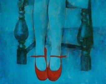 RED SHOES, canvas, oil, original art, blue