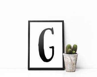 G Monogram Art - G Download Art - G Typography Art - Black and White - Minimalism Art - Uppercase G - Letter Print - Letter Art - Nursery