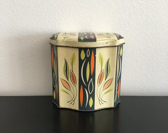 Vintage Tin Box, Art Deco Style, Made In Great Britain, Home Decor, Retro Kitchen, Tea Caddy, Biscuit Tin, Metal Box, Storage, Copper, Brass